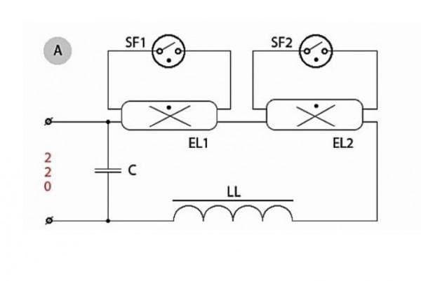 Подключение ПРА с лампами 2х18