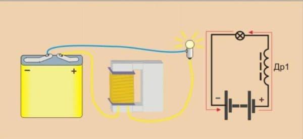 Дроссель, подключенный к лампе