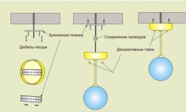 Как установить подвесную люстру своими руками