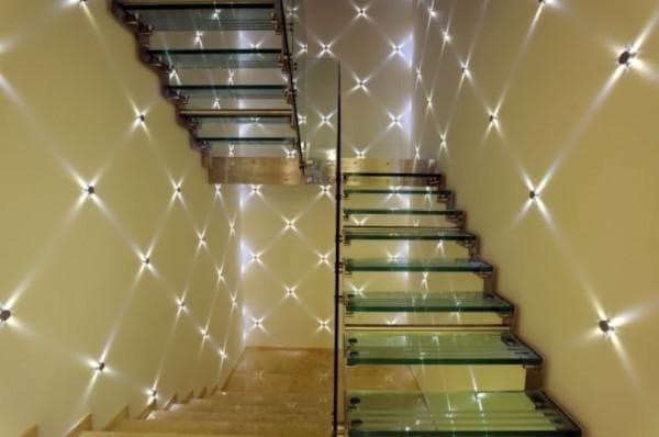 Оригинальные светильники для подсветки лестницы