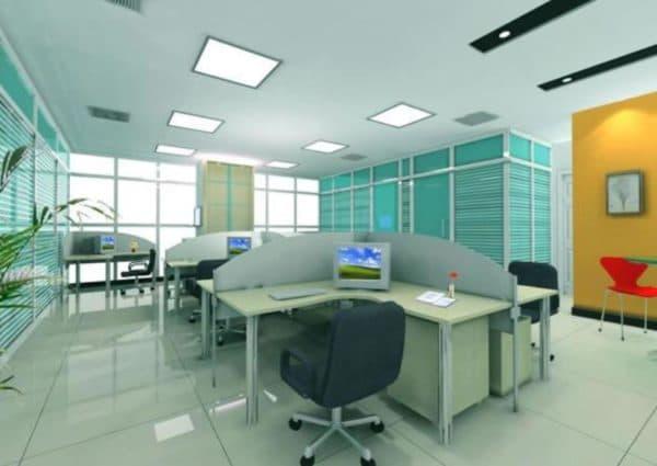 Фото интерьера офиса с диодными светильниками