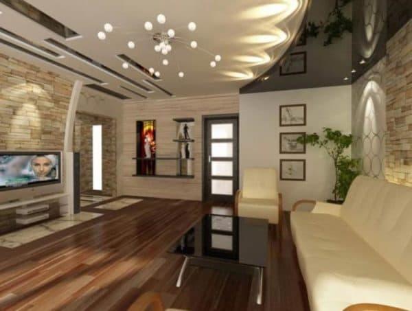 Вариант освещения гостиной с натяжным потолком