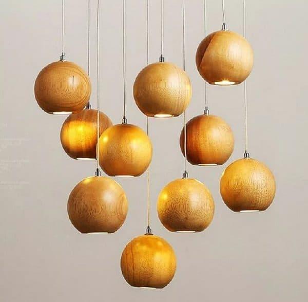 Люстры с деревянными плафонами