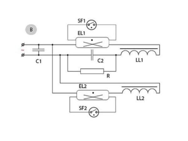 Схема подключения с 2-мя ПРА