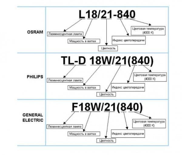 Примеры маркировки ламп дневного света