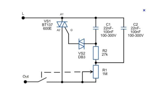 Схема регулятора света с гальваноразвязкой