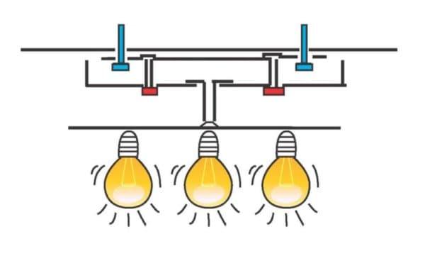 Схема крепления подвесной люстры с 3-мя плафонами
