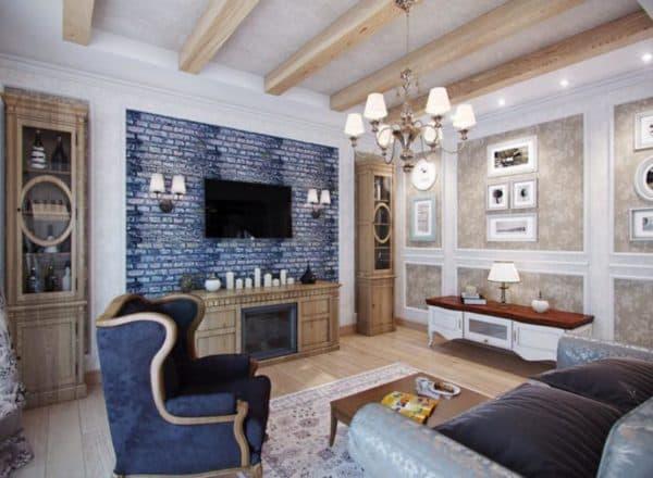 Гостиная, освещенная в стиле французских деревенских домиков