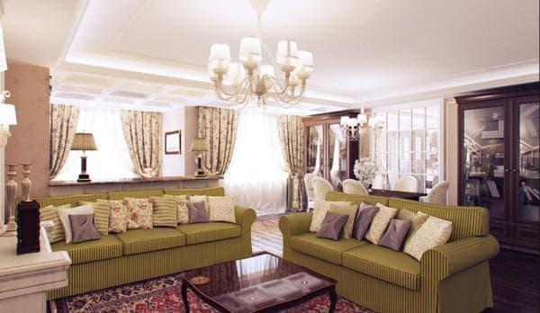 Гостиная с люстрой в прованском стиле
