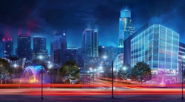Городское уличное освещение LED прожекторами