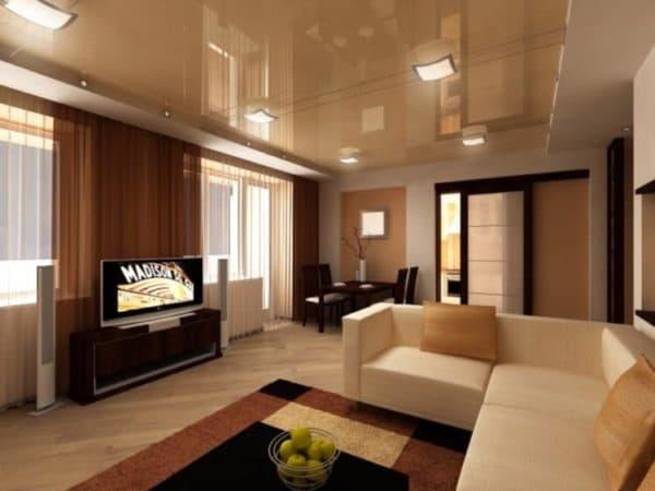 Свет в гостиной с натяжным потолком