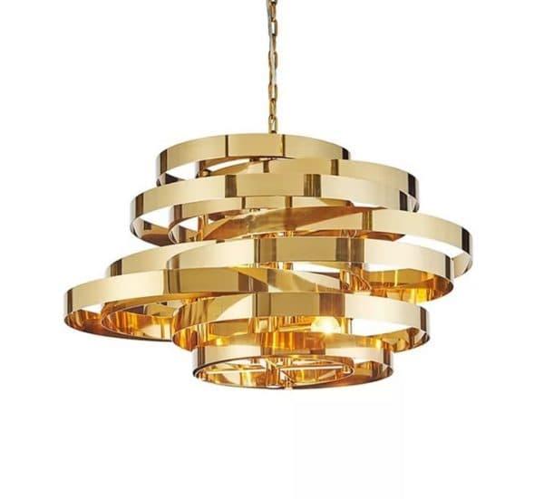 Современная золотая люстра в гостиную